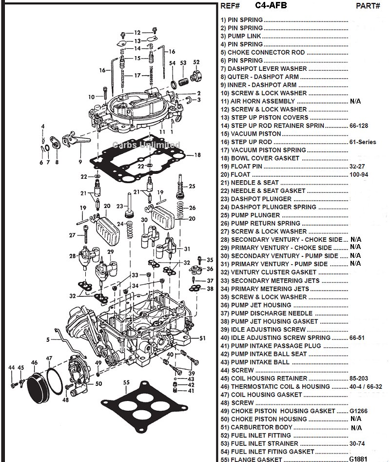 carter 4 afb parts page rh carburetion com carter bbd carburetor diagram carter carburetor parts diagrams