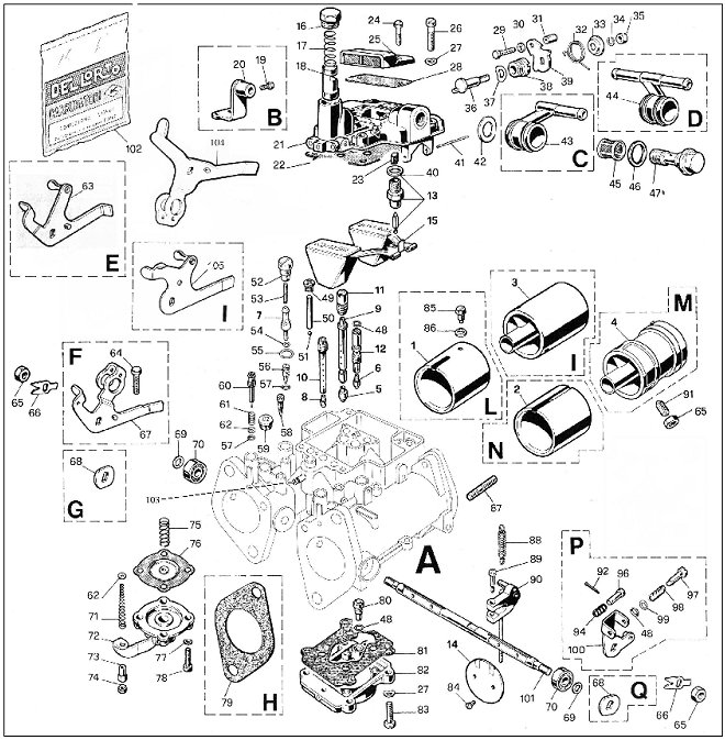 Parts for Dellorto 40 45 48 DHLA Carburetors